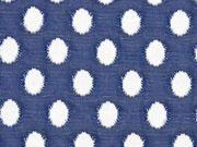 RESTSTÜCK 108 cm Jacquard leicht elastisch Ovale, cremeweiß dunkelblau