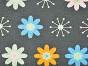 Sweat leicht angeraut Blumen, grau
