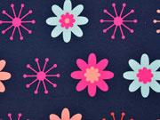 Sweat leicht angeraut Blumen, dunkelblau