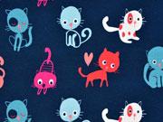 Sweat leicht angeraut Katzen, dunkelblau bunt