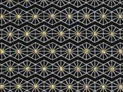 Jersey graphisches Muster, glitzer gold schwarz
