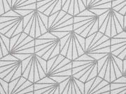 Viskosejersey grafisches Muster silbermetallic