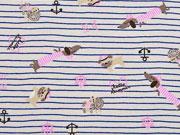 Jersey Streifen maritime Hunde nude rosa