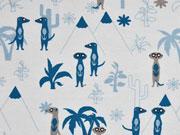 RESTSTÜCK 30 cm Jersey Erdmännchen Palmen, hellblau