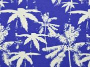 Jersey Palmen, royalblau offwhite