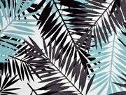 Viskosejersey Palmenblätter, mint grau