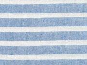 leichter Baumwollstoff Streifen 1 cm, jeansblau