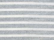 leichter Baumwollstoff Streifen 1 cm, grau melange