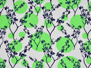 Jersey Punkte Zweige, weiss hellgrün navy