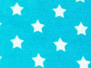RESTSTÜCK 41 cm Sweat Frottee Sterne 3,3 cm, weiß türkis