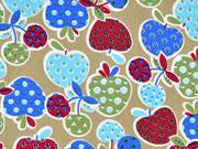 Baumwollstoff Erdbeeren Kirschen gemustert, hellblau beige