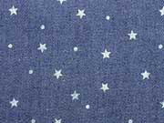 Leichter Jeansstoff Sternchen & Punkte, dunkelblau