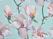 RESTSTÜCK 123 cm Blusenstoff Digitaldruck Magnolien, mint