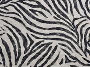 Leinenlook Dekostoff Zebramuster, grau schwarz natur