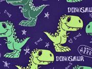 Softshell Stoff Dinosaurier Digitaldruck, lilablau