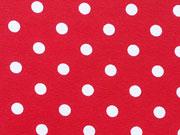 RESTSTÜCK 78 cm Jersey Punkte 0,7cm - weiß auf rot
