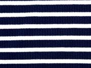 Rippenjersey Streifen, dunkelblau weiß