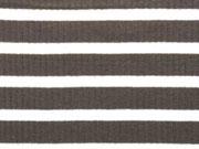 Rippenjersey Streifen, dunkeltaupe/weiß