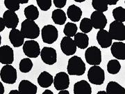 Viskosejersey unregelmäßige Punkte, schwarz weiß