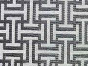 Reststück 67cm Dekostoff grafisches Muster, silber / ecrue