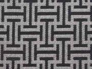 Dekostoff grafisches Muster, silber / schwarz