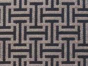 Reststück 59cm Dekostoff grafisches Muster, gold / schwarz