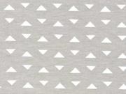 RESTSTÜCK 32 cm Jersey kleine Dreiecke, weiß auf beige