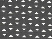 Jersey kleine Dreiecke, weiß auf schwarz