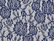 RESTSTÜCK 25 cm elastische Spitze Rosen, dunkelblau