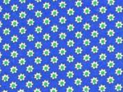 RESTSTÜCK 38 cm Jersey Mini Sonnenblumen, blau