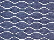 RESTSTÜCK 43 cm Strukturjersey Wellen, jeansblau melange