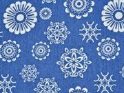 Stretch Jeans Ornamente, jeansblau