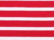 French Terry  Streifen 1 cm, rot / weiß