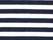 RESTSTÜCK 33 cm French Terry  Streifen 1 cm, dunkelblau/weiß