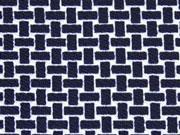 Crepe Jersey Gitternetz Muster, dunkelblau/weiß