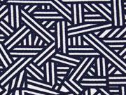 Crepe Jersey grafisches Muster, dunkelblau/weiß