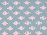 Baumwollstoff Fische, weiß auf hellblau