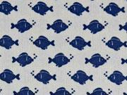 Baumwollstoff Fische, dunkelblau auf hellgrau