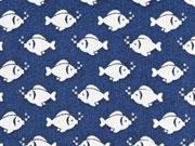 BW Fische, weiß auf dunkelblau