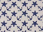 Baumwollstoff Seesterne & Anker, dunkelblau auf hellgrau