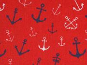 Baumwolle verschiedene Anker, weiß/navy auf rot
