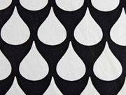 Reststück 69cm BW Tropfenmuster, schwarz weiß