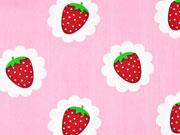 Baumwollstoff Lecker Erdbeeren, rosa