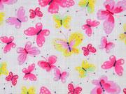 BW-Viskose Schmetterlinge, bunt auf weiß