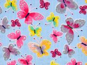 RESTSTÜCK 42 cm Blusenstoff Baumwollviskose Schmetterlinge, hellblau