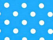 Jerseystoff Punkte 1,4 cm, weiß auf türkis
