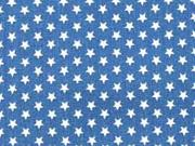 Baumwollstoff kleine Sterne Mini Stars, weiß indigo blau