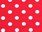 RESTSTÜCK 32 cm Jersey Punkte 1,4 cm, weiß auf rot