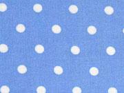 Reststück 186cm Viskose Punkte 8 mm, weiß auf bleu