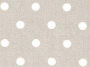 Viskose Punkte 8 mm, weiß auf beige